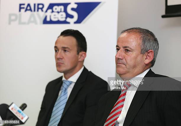 Ben Hardwick of Slater and Gordon and New Zealand lawyer Andrew Hooker speak to media during a press conference announcing the class suit to reclaim...