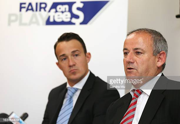 Ben Hardwick of Slater and Gordon looks on as New Zealand lawyer Andrew Hooker speaks to media during a press conference announcing the class suit to...