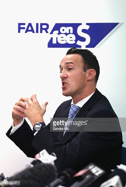Ben Hardwick of Slater Gordon speaks to media during a press conference announcing the class suit to reclaim bank fees on March 11 2013 in Auckland...