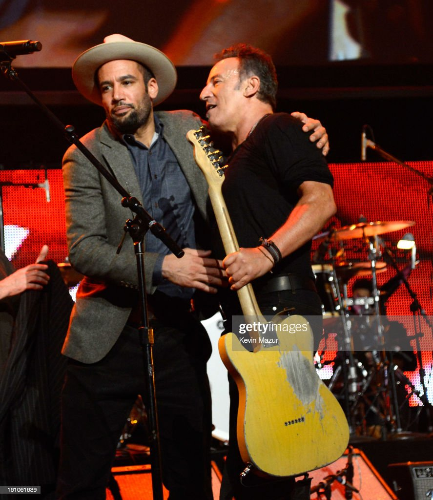 Ben Harper and Bruce Sprngsteen perform onstage at MusiCares Person Of The Year Honoring Bruce Springsteen at Los Angeles Convention Center on...