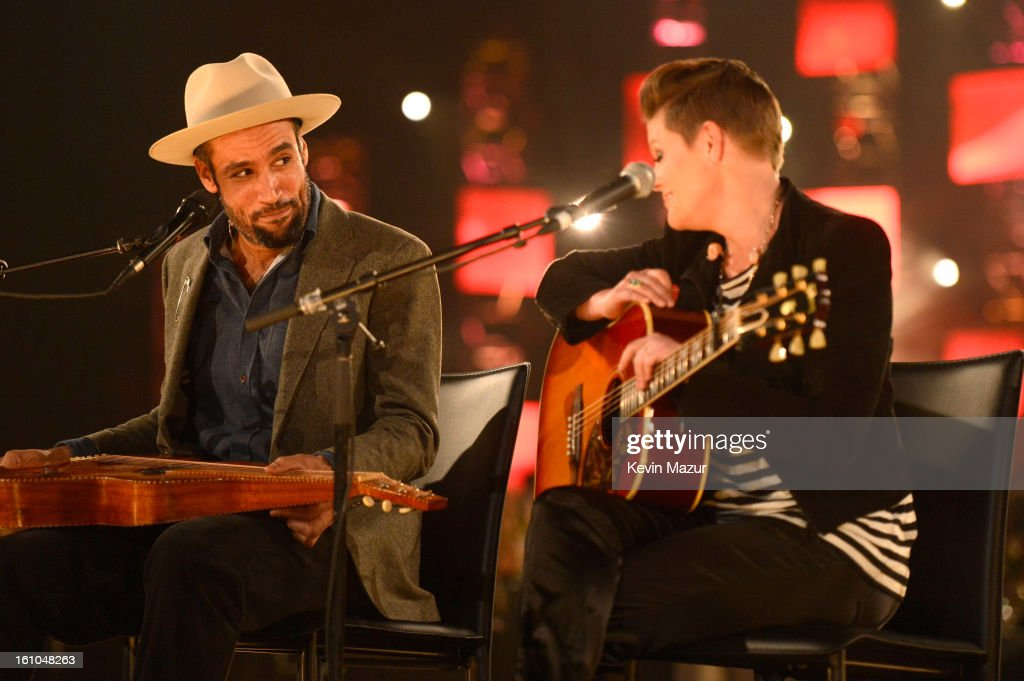 Ben Harper and Natalie Maines perform onstage at MusiCares Person Of The Year Honoring Bruce Springsteen at Los Angeles Convention Center on February...