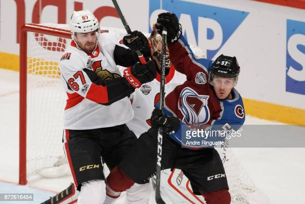 Ben Harpur of the Ottawa Senators battles for position against Gabriel Bourque of the Colorado Avalanche at Ericsson Globe on November 10 2017 in...