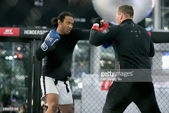 Ben Henderson holds an open workout for fans and media during UFC Fight Night Open Workouts at Times Square on November 25 2015 in Seoul South Korea
