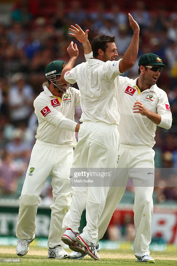 Ben Hilfenhaus of Australia celebrates taking the wicket of Graeme Smith of South Africa during day four of the Second Test Match between Australia and South Africa at Adelaide Oval on November 25, 2012 in Adelaide, Australia.