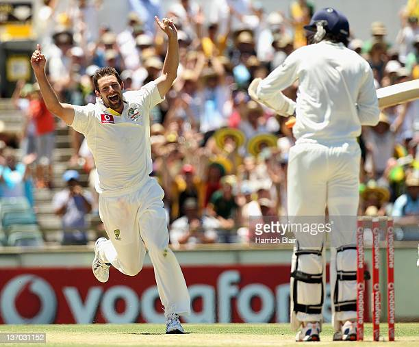 Ben Hilfenhaus of Australia celebrates the wicket of Ishant Sharma of India during day three of the Third Test match between Australia and India at...