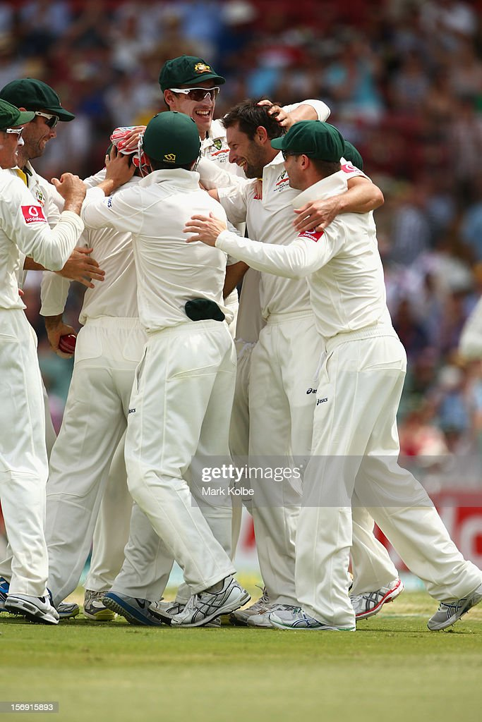 Ben Hilfenhaus of Australia celebrates with his team after taking the wicket of Graeme Smith of South Africa during day four of the Second Test Match between Australia and South Africa at Adelaide Oval on November 25, 2012 in Adelaide, Australia.