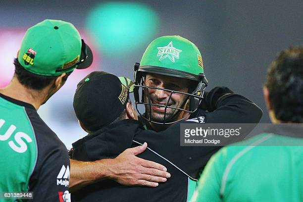Ben Hilfenhaus of the Stars celebrates after hitting the winning runs during the Big Bash League match between the Melbourne Stars and the Adelaide...