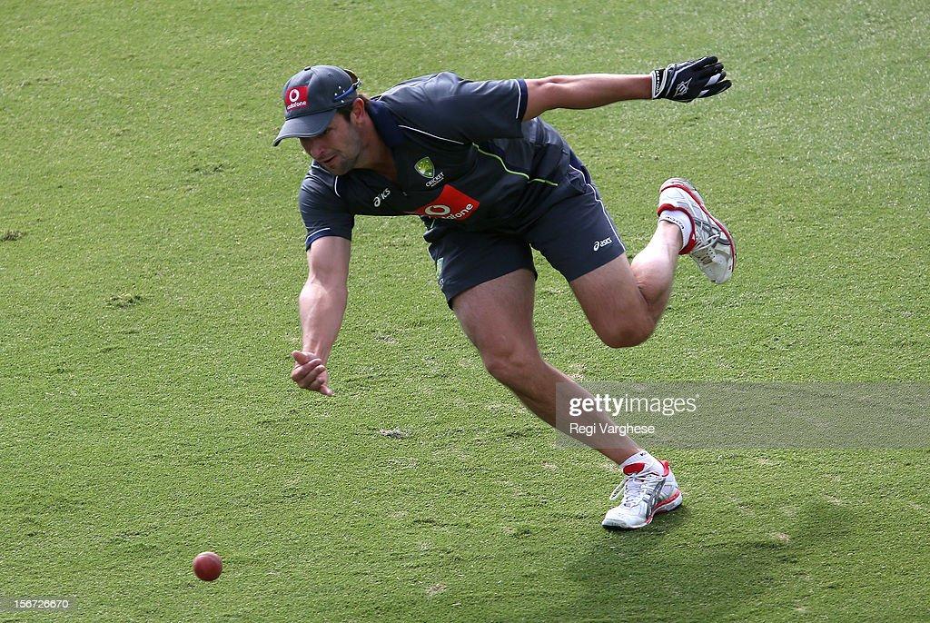Ben Hilfenhaus picks the ball during an Australian training session at Adelaide Oval on November 20, 2012 in Adelaide, Australia.