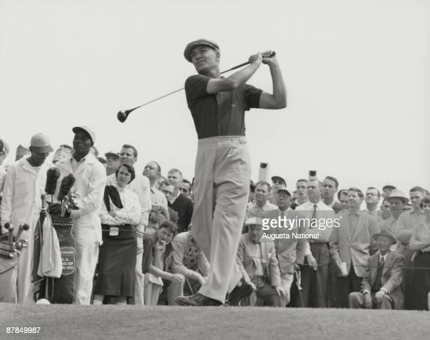 Ben Hogan tees off during the 1953 Masters Tournament at Augusta National Golf Club in April 1953 in Augusta Georgia