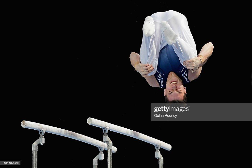 Ben Holden of Victoria competes on the parrallel bars during the 2016 Australian Gymnastics Championships at Hisense Arena on May 27, 2016 in Melbourne, Australia.