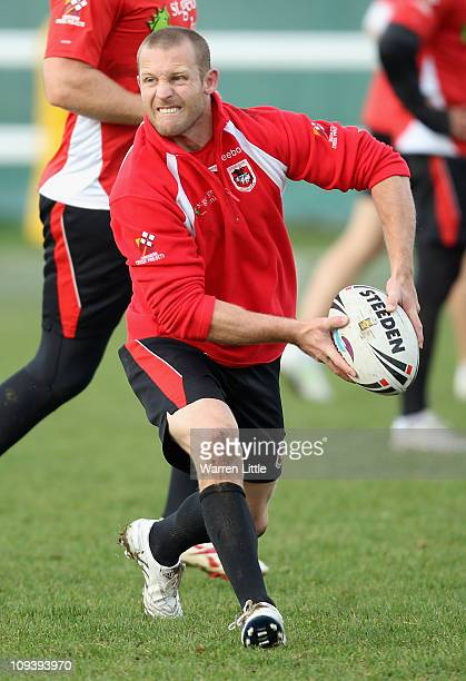Ben Hornby of St George Illawarra Dragons in action during a training session ahead of the World Club Challenge match against Wigan on February 24...