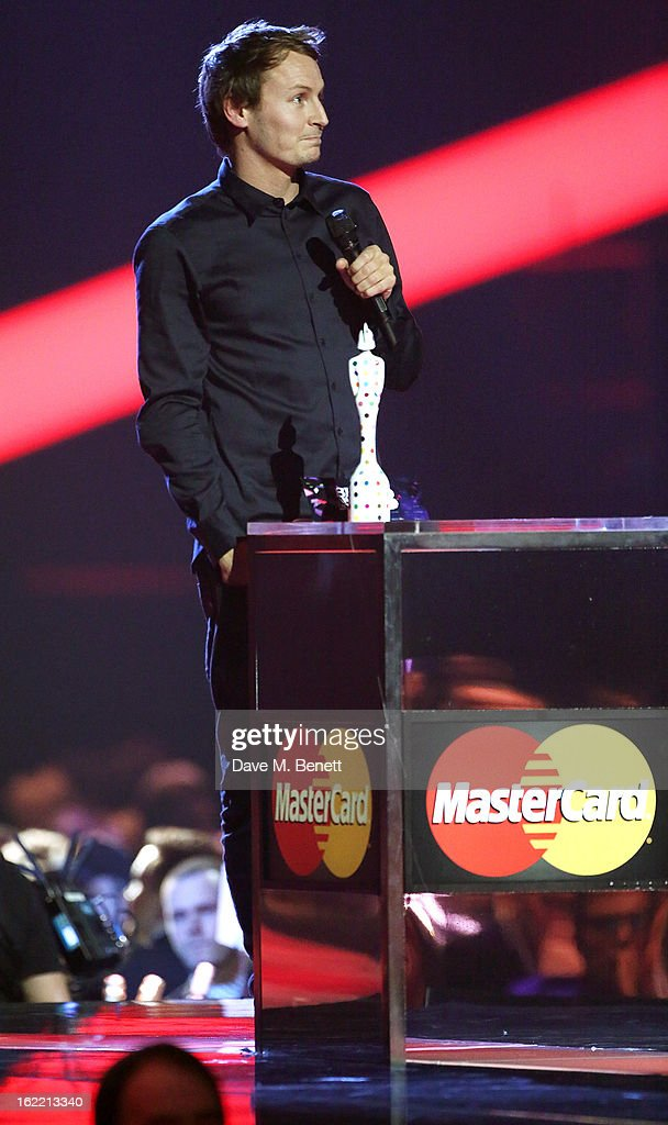 Ben Howard is presented with the award for Best British Male on stage at the Brit Awards at 02 Arena on February 20, 2013 in London, England.