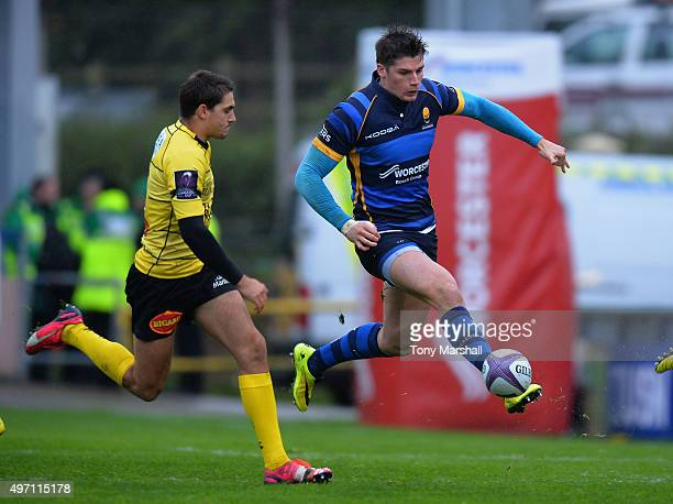 Ben Howard of Worcester Warriors taps the ball forward during the European Rugby Challenge Cup match between Worcester Warriors and La Rochelle at...