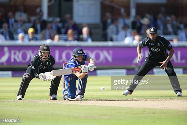 Ben Howell of Gloucesterhire hits out during the Royal London One Day Cup Final between Gloucestershire and Surrey at Lord's Cricket Ground on...