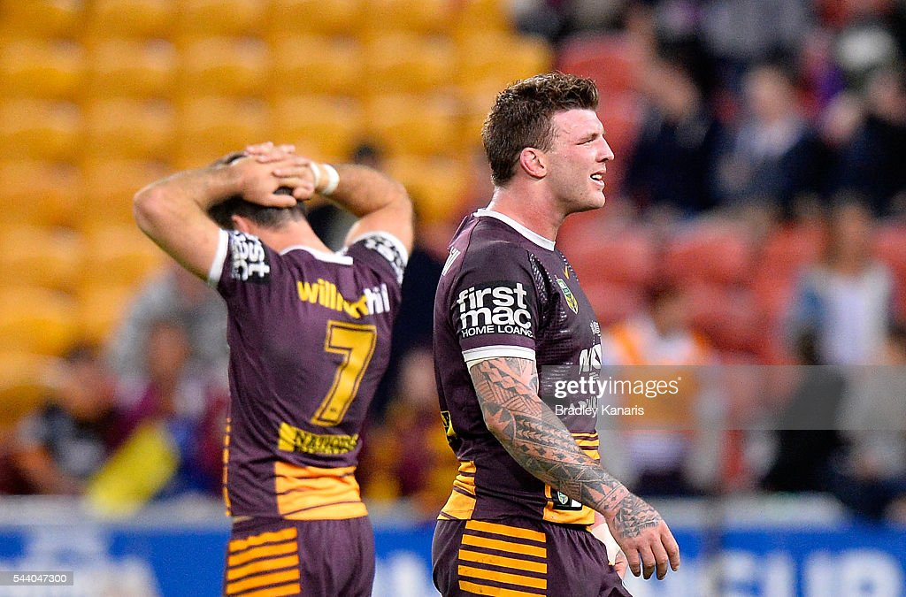 <a gi-track='captionPersonalityLinkClicked' href=/galleries/search?phrase=Ben+Hunt+-+Rugby+Player&family=editorial&specificpeople=13397153 ng-click='$event.stopPropagation()'>Ben Hunt</a> and Josh McGuire of the Broncos are dejected after their team loses the round 17 NRL match between the Brisbane Broncos and the Melbourne Storm at Suncorp Stadium on July 1, 2016 in Brisbane, Australia.