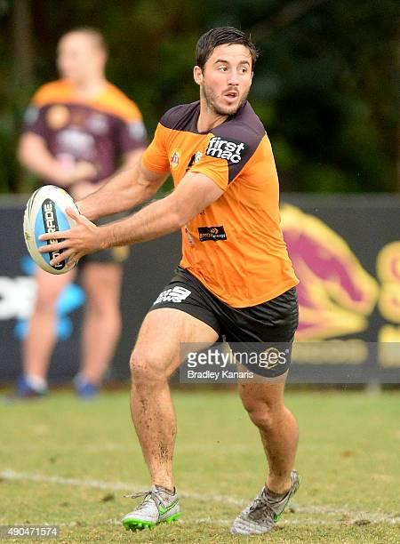 Ben Hunt looks to pass during the Brisbane Broncos NRL training session on September 29 2015 in Brisbane Australia