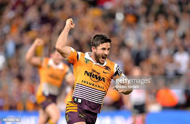 Ben Hunt of the Broncos celebrates victory after the NRL Qualifying Final match between the Brisbane Broncos and the North Queensland Cowboys at...