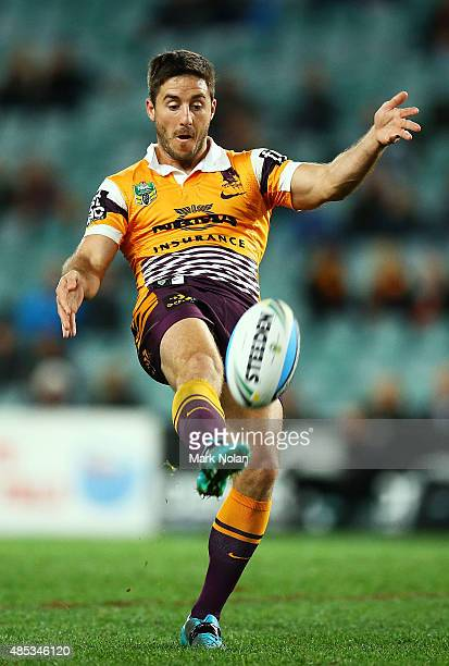 Ben Hunt of the Broncos kicks ahead during the round 25 NRL match between the South Sydney Rabbitohs and the Brisbane Broncos at Allianz Stadium on...