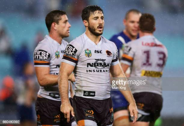 Ben Hunt of the Broncos looks dejected at fulltime during the round five NRL match between the Canterbury Bulldogs and the Brisbane Broncos at ANZ...