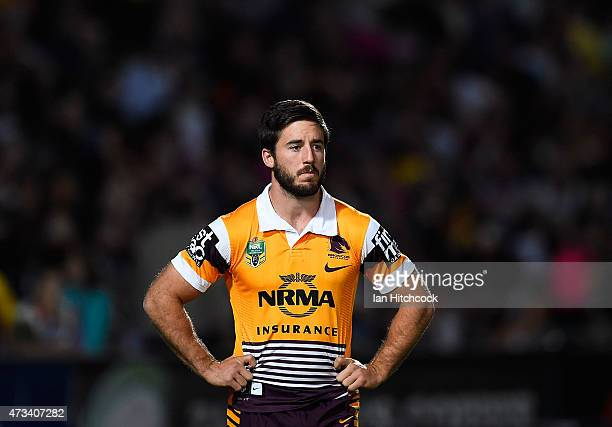 Ben Hunt of the Broncos looks on before the start of the round 10 NRL match between the North Queensland Cowboys and the Brisbane Broncos at...