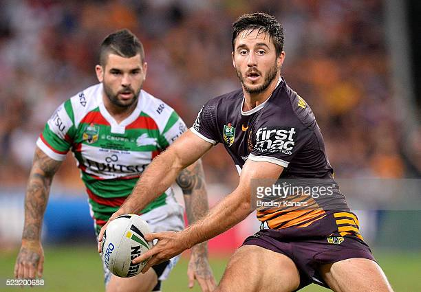 Ben Hunt of the Broncos looks to pass during the round eight NRL match between the Brisbane Broncos and the South Sydney Rabbitohs at Suncorp Stadium...