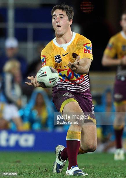 Ben Hunt of the Broncos passes the ball during the round 20 NRL match between the Gold Coast Titans and the Brisbane Broncos at Skilled Stadium on...
