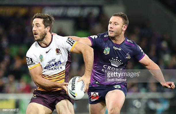 Ben Hunt of the Broncos runs with the ball during the round 25 NRL match between the Melbourne Storm and the Brisbane Broncos at AAMI Park on August...