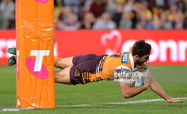 Ben Hunt of the Broncos scores a try during the NRL Qualifying Final match between the Brisbane Broncos and the North Queensland Cowboys at Suncorp...