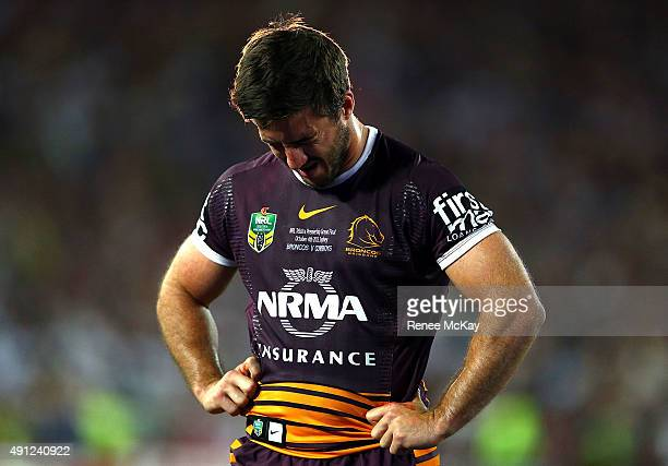 Ben Hunt of the Broncos shows his disappointment during the 2015 NRL Grand Final match between the Brisbane Broncos and the North Queensland Cowboys...