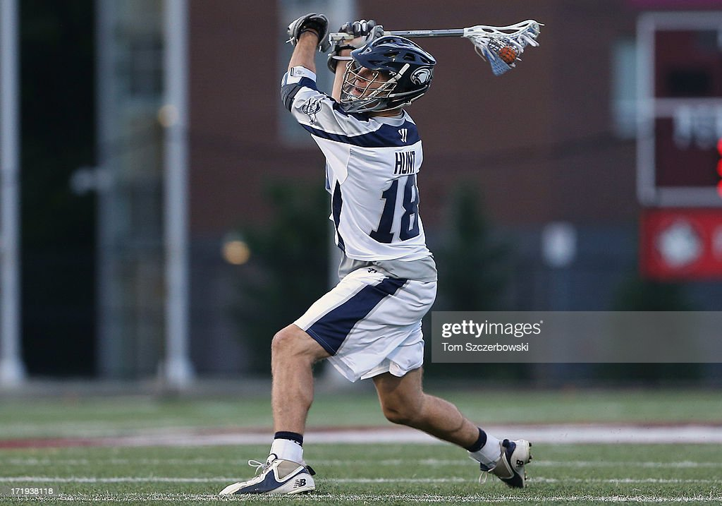 Ben Hunt #18 of the Chesapeake Bayhawks shoots the ball during Major League Lacrosse game action against the Hamilton Nationals on June 29, 2013 at Ron Joyce Stadium in Hamilton, Ontario, Canada.
