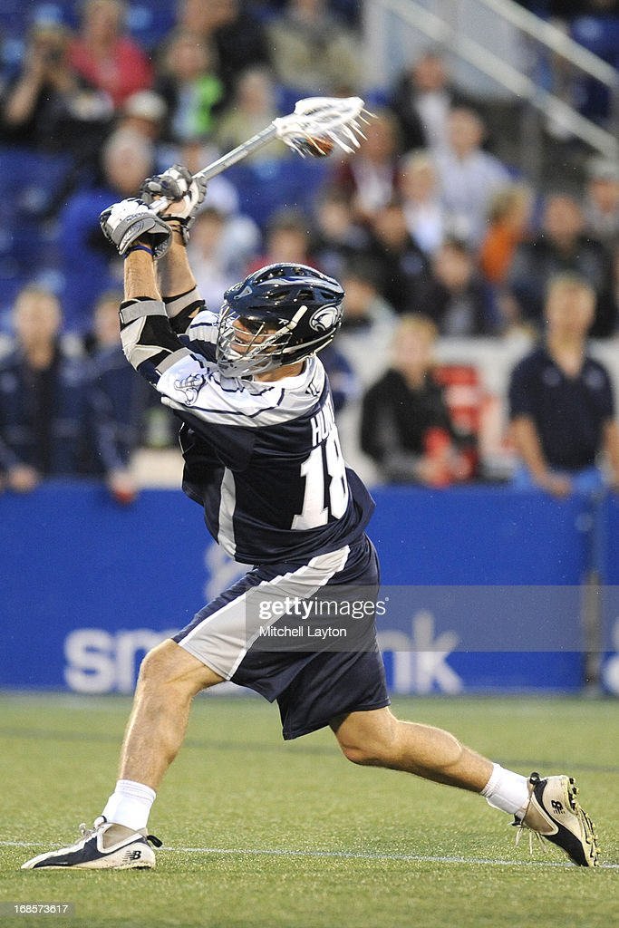 Ben Hunt of the Chesapeake Bayhawks shots and scores in the second period during a MLL lacrosse game against the Ohio Machine on May 11 2013 at...
