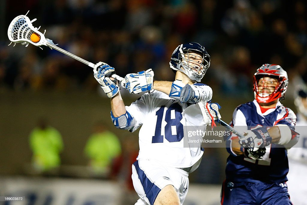 Ben Hunt #18 of the Chesapeake Bayhawks takes a shot against the Boston Cannons in the second half during the game on May 18, 2013 at Harvard Stadium in Boston, Massachusetts.