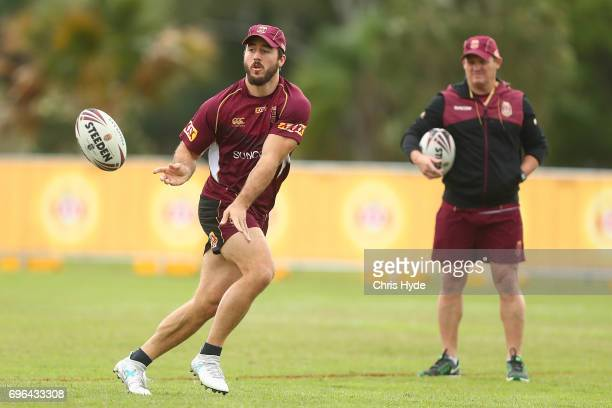 Ben Hunt passes during a Queensland Maroons State of Origin training session at Intercontinental Sanctuary Cove Resort on June 16 2017 in Brisbane...