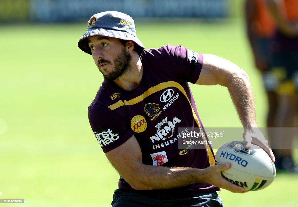 Ben Hunt passes the ball during a Brisbane Broncos NRL training session on March 1, 2017 in Brisbane, Australia.