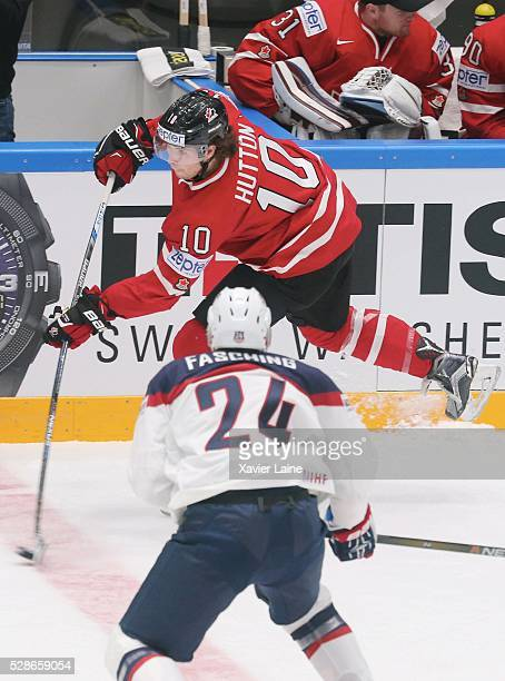Ben Hutton of Canada in action during the 2016 IIHF World Championship between USA and Canada at Yubileyny Sports Palace on May 6 2016 in Saint...