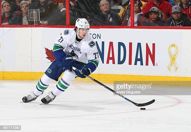 Ben Hutton of the Vancouver Canucks skates against the Ottawa Senators at Canadian Tire Centre on November 12 2015 in Ottawa Ontario Canada