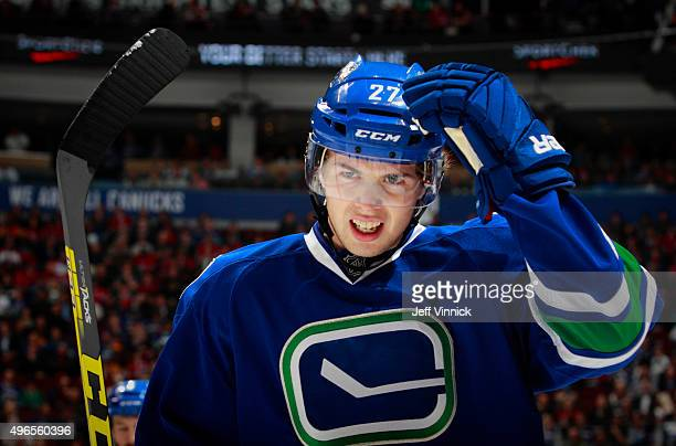 Ben Hutton of the Vancouver Canucks skates to the bench during their NHL game against the Montreal Canadiens at Rogers Arena October 27 2015 in...