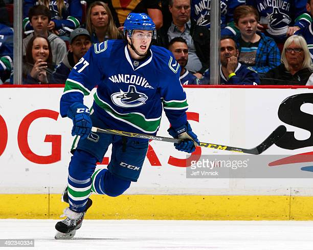 Ben Hutton of the Vancouver Canucks skates up ice during their NHL game against the Calgary Flames at Rogers Arena October 10 2015 in Vancouver...