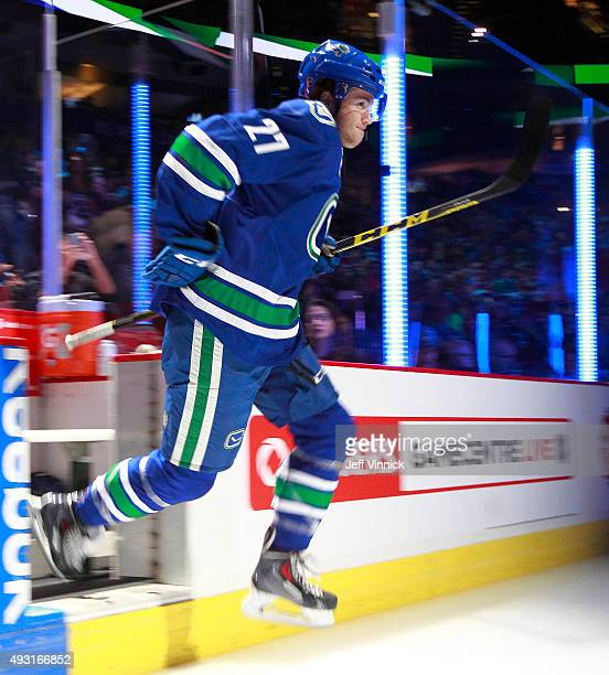 Ben Hutton of the Vancouver Canucks steps onto the ice during their NHL game against the St Louis Blues at Rogers Arena October 16 2015 in Vancouver...
