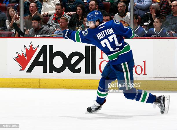 Ben Hutton of the Vancouver Canucks takes a slap shot during their NHL game against the Anaheim Ducks at Rogers Arena January 1 2016 in Vancouver...