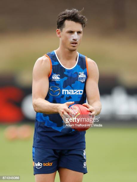 Ben Jacobs of the Kangaroos looks on during the North Melbourne Kangaroos training session at Arden St on November 15 2017 in Melbourne Australia