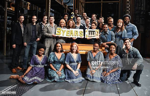 Ben Jacoby Liz Larsen Chilina Kennedy Jake Epstein Paul Anthony Stewart and Jessica Keenan Wynn with the cast celebrate 3 years on Broadway of...