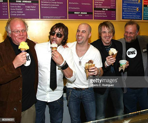 Ben Jerry's cofounder Ben Cohen musicians Josh Steely Chris Daughtry and Brian Craddock of the band Daughtry and Ben Jerry's cofounder Jerry...