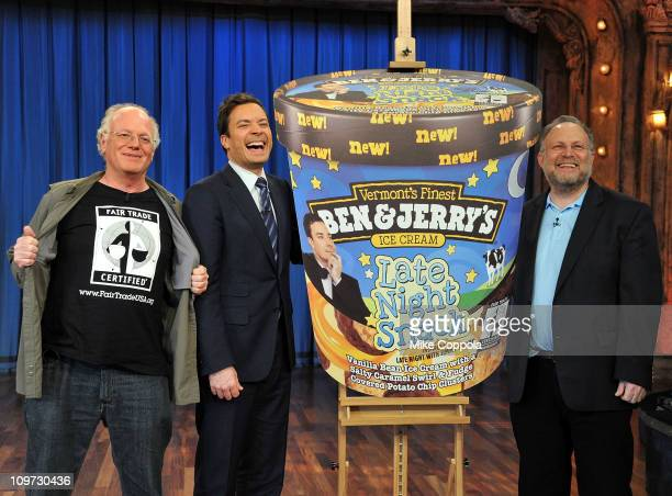 "Ben Jerry's CoFounders Ben Cohen and Jerry Greenfield speak with Jimmy Fallon to announce 'Late Night Snack"" the newest Fair Trade flavor at Studio..."