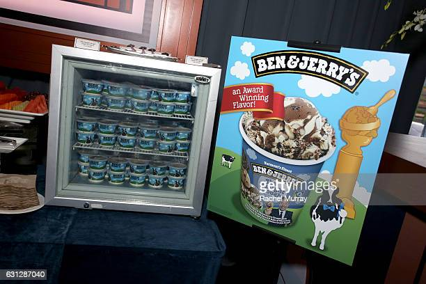 Ben Jerry's is served during the Universal NBC Focus Features E Entertainment Golden Globes after party sponsored by Chrysler on January 8 2017 in...