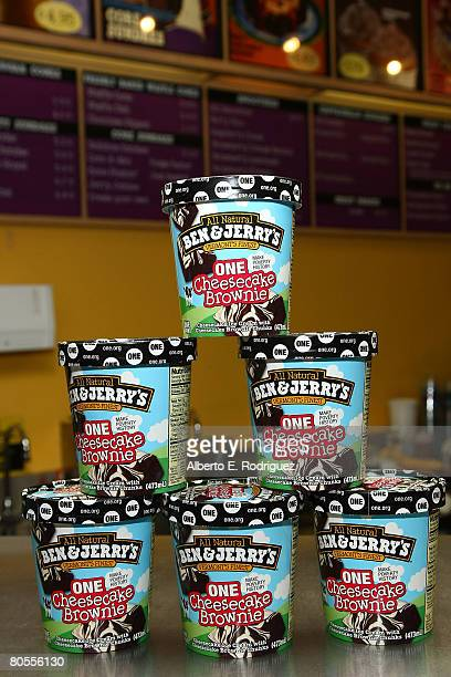 Ben Jerry's new flavor ONE Cheesecake Brownie is displayed at the partnership launch of Ben Jerry's and The ONE campaign's fight against global...
