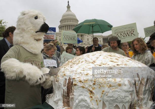 Ben Jerry's protested drilling in the Arctic National Wildlife Refuge with the world's largest Baked Alaska in front of the Capital on Earth Day