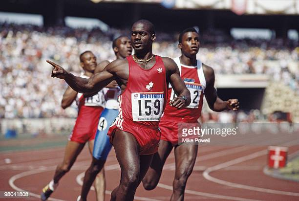 Ben Johnson of Canada celebrates winning gold in the Men's 100 metres final on 24 September 1988 during the XXIV Olympic Games at the Seoul Olympic...