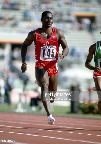 Ben Johnson of Canada during one of the heats for the men's 100 metres event which he won in world record time at the World Athletics Championships...