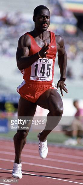 Ben Johnson of Canada gold medal winner of the men's 100m event at the 2nd World Athletics Championships held at the Olympic Stadium in Rome Italy in...